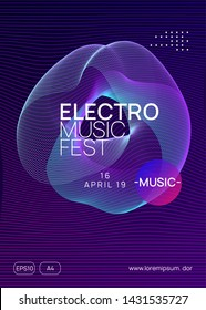 Music poster. Dynamic gradient shape and line. Digital show invitation design. Neon music poster. Electro dance dj. Electronic sound fest. Club event flyer. Techno trance party.