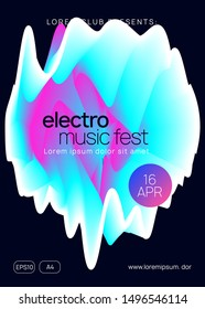Music poster. Electronic sound. Night dance lifestyle holiday. Fluid holographic gradient shape and line. Dynamic indie club banner layout. Summer fest flyer and music poster.