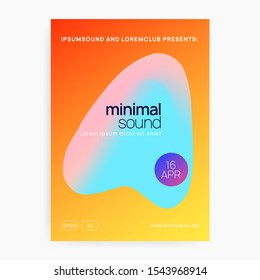 Music poster. Fluid holographic gradient shape and line. Minimal disco event cover design. Electronic sound. Night dance lifestyle holiday. Summer fest flyer and music poster.