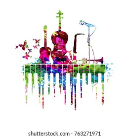 Music poster with music instruments vector illustration. Colorful music background with piano keyboard, guitar, violoncello, saxophone, trumpet and microphone.