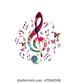 Music poster with music notes. Colorful G-clef with music notes isolated vector illustration