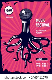 Music poster with octopus and microphone. Rap and rock party illustration. Vector template.