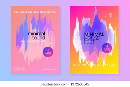Music poster set. Abstract indie club magazine design. Electronic sound. Night dance lifestyle holiday. Fluid holographic gradient shape and line. Summer fest flyer and music poster.