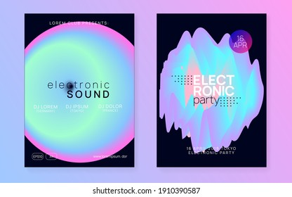 Music poster set. Abstract trance event invitation design. Electronic sound. Night dance lifestyle holiday. Fluid holographic gradient shape and line. Summer fest flyer and music poster.