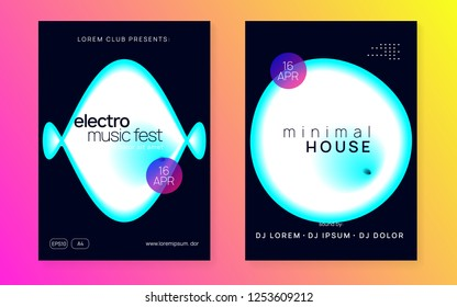 Music poster set. Dynamic trance show banner layout. Fluid holographic gradient shape and line. Electronic sound. Night dance lifestyle holiday. Summer fest flyer and music poster.