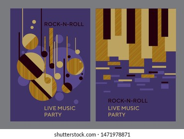Music poster template with abstract concept composition. Geometric violet illustration for card, header, invitation, poster, social media, post publication. Assorted circles geometry pattern.