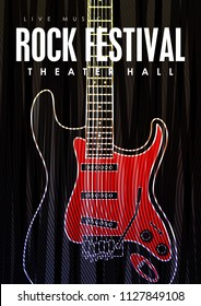 Music poster template. Vector flyer background with electric guitar illustration.