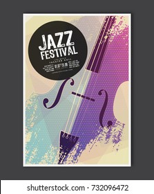 Music poster template. Vector Jazz music flyer background with contrabass flat illustration. A4 size flyer.