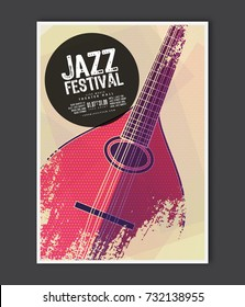 Music poster template. Vector Jazz music flyer background with mandolin flat illustration. A4 size flyer.