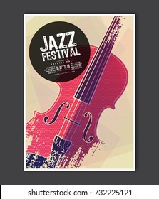 Music poster template. Vector Jazz music flyer background with violin flat illustration. A4 size flyer.