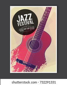 Music poster template. Vector Jazz music flyer background with acoustic guitar flat illustration. A4 size flyer.