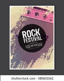 Music poster template. Vector Rock music flyer background with electric guitar amplifier flat illustration. A4 size flyer.