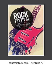 Music poster template. Vector Rock music flyer background with electric guitar flat illustration. A4 size flyer.