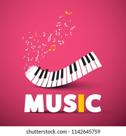 Music Poster Vector Design with Piano Keyboard on Pink Background