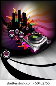 Music poster with vinyl player