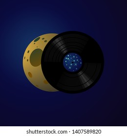 Music poster with vinyl record and moon phases. Dance festival background for night club. Vector illustration with crescent.