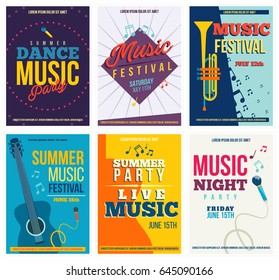 Music Posters or Flyers Set. Colored Layout Templates for Musical Festival, Festive Event, Summer Party, Live music. Isolated. Vector