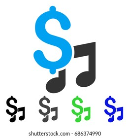 Music Price flat vector illustration. Colored music price gray, black, blue, green pictogram versions. Flat icon style for application design.
