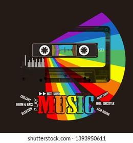 Music print. Audio cassete and rainbow. Modern musical art
