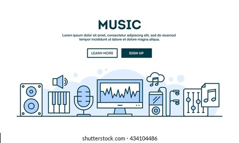 Music production, concept header, flat design thin line style, vector illustration