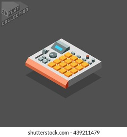 Music Production Sampler Groovebox. Musical Equipment. 3D Isometric Low Poly Flat Design. Vector illustration.