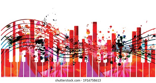 Music promotional poster with multicolored piano keyboard and notes isolated vector illustration. Colorful music background with piano keys for live concert events, music festivals, shows, party flyer