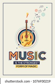 Music quote in Geometrical style. Music concept for poster, wall graphics, banner, web design and office space graphics.