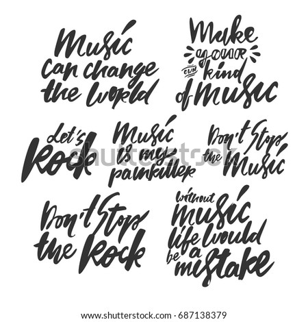 Music Quotes Set Modern Calligraphic Style Stock Vector Royalty