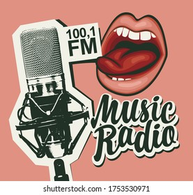 Music radio FM broadcasting concept. Vector banner in retro style for music radio station with microphone, sexy girls lips and inscription on pink background. Suitable for poster, advertising, flyer