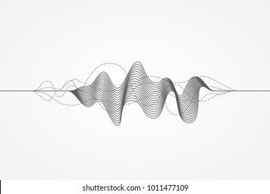 Music radio sound wave. Sign of audio digital record, vibration, pulse and music soundtrack. Vector illustration. Flat design