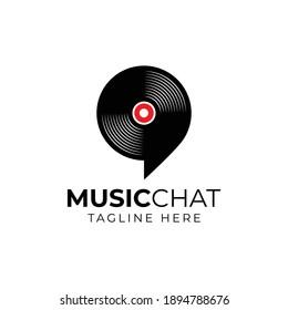 music record Logo design using Bubble chat or talk icon
