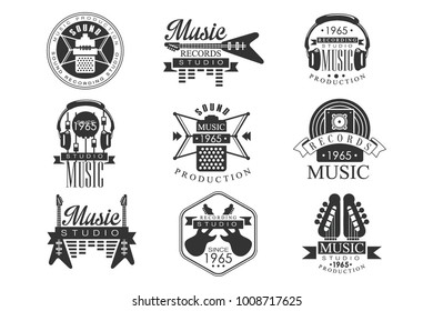Music Record Studio Black And White Emblems