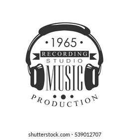 Music Record Studio Black And White Logo Template With Sound Recording Retro With Headphones Silhouette