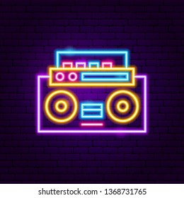 Music Recorder Neon Label. Vector Illustration of Trendy Retro Promotion.