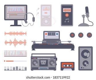 Music recording and broadcasting equipment set, flat vector illustration isolated on white background. Modern audio devices collection for streaming broadcast.
