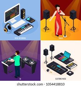 Music recording studio equipment isometric 2x2 design concept with professional audio workstations and musicians on stage vector illustration