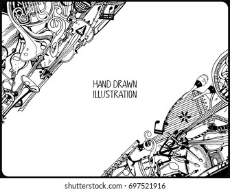 Music and Recreation Time Concept. Hand Drawn Doodles. Collection of Music Instruments. Black and White illustration.