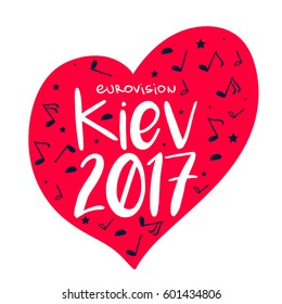 Music red Heart with lettering. Eurovision Song Contest 2017 in Kiev, Ukraine on a white background. Vector illustration