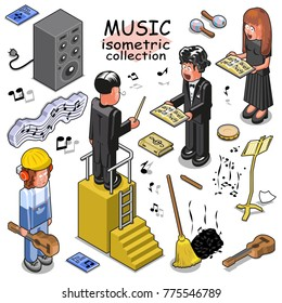 Music related people, items and instruments such choir singers, musician, conductor, guitar, loud speaker. Isometric vector set
