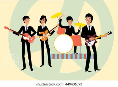 Music retro style band. Vector illustration.
