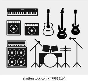 Music rock band instruments set, piano, amplifiers and combo amp, drums, acoustic and electric guitars and bass guitar, microphone