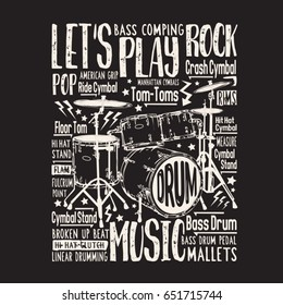Music rock drums typography, tee shirt graphics , vectors