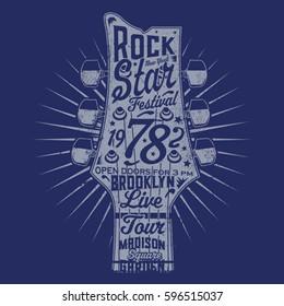 Music rock guitar typography, tee shirt graphics, vectors