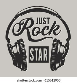 Music rock headphones  typography, tee shirt graphics, vectors