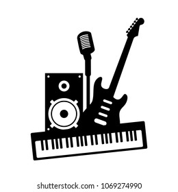 Music rock pop band group concept icon. Black musical instruments guitar piano microphone speaker on white background. Vector modern audio equipment art illustration for concert festival party studio