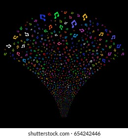 Music salute stream. Vector illustration style is flat bright multicolored iconic symbols on a black background. Object stream fountain created from random pictographs.