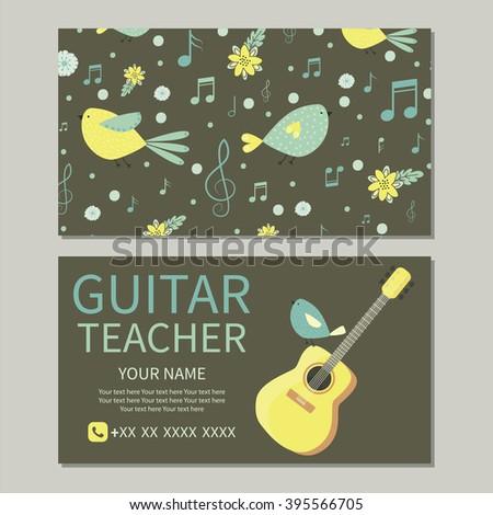 music school business card guitar teacher stock vector royalty free