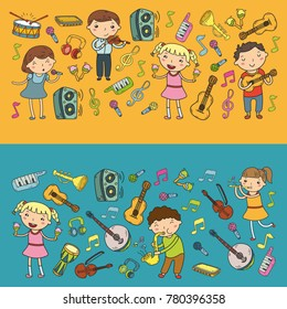 Music school for kids Vector illustration Children singing songs, playing musical instruments Kindergarten Doodle icon collection Illustration for children music lesson