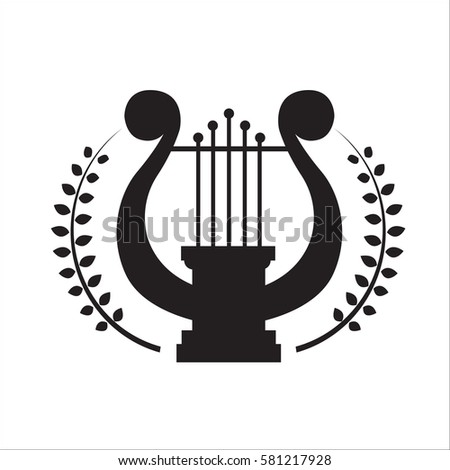 Music school logo. Lyre or cither icon.