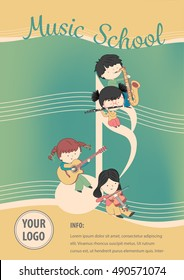 Music school poster vector - Flyer Design with children and many instrument. Vector template of invitation, flyer, poster.